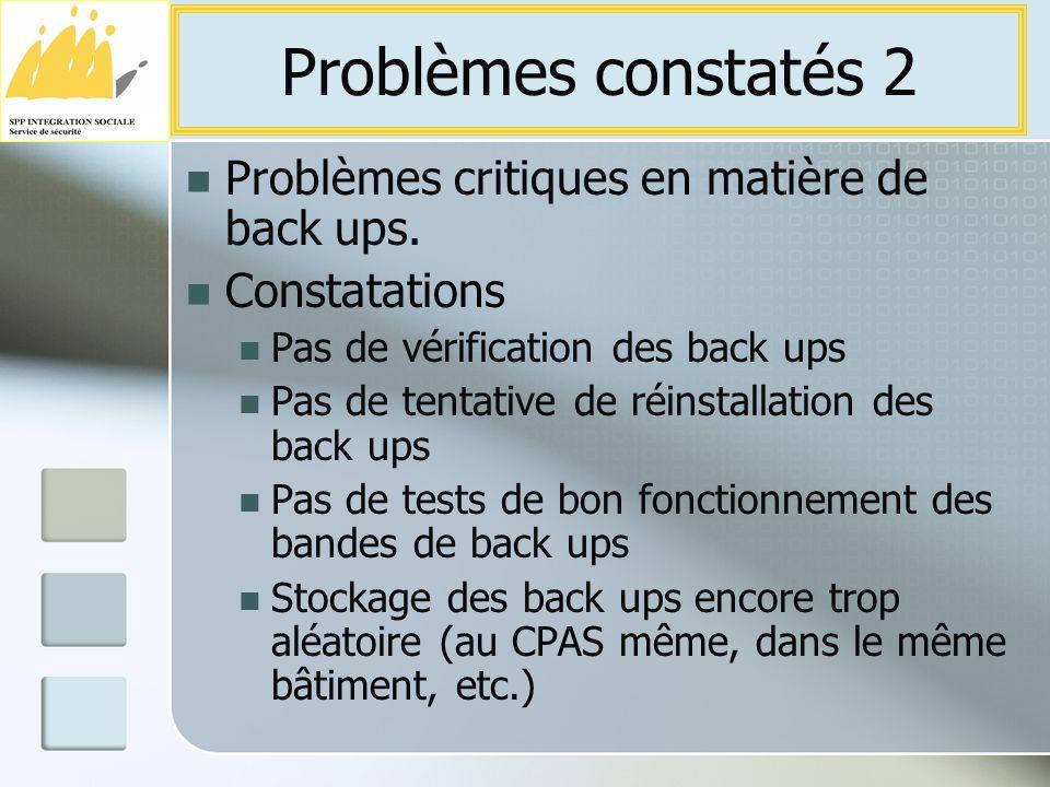 Problèmes critiques en matière de back ups.