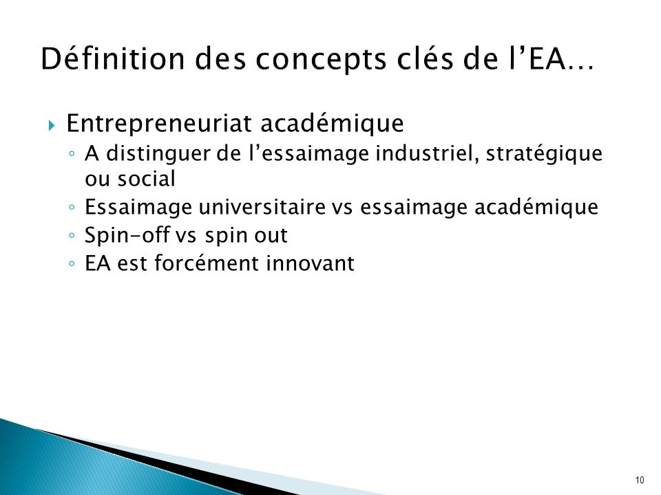10 Entrepreneuriat académique A distinguer de lessaimage industriel, stratégique ou social Essaimage universitaire vs essaimage académique Spin-off vs
