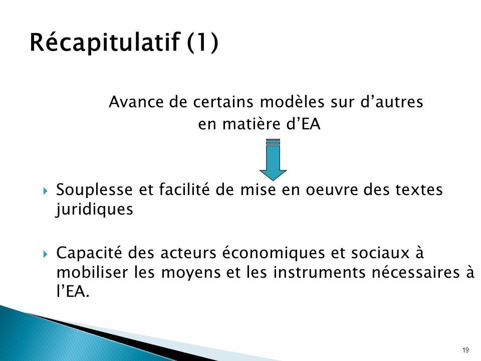19 Avance de certains modèles sur dautres en matière dEA Souplesse et facilité de mise en oeuvre des textes juridiques Capacité des acteurs économique