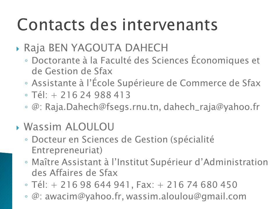 35 Contacts des intervenants Raja BEN YAGOUTA DAHECH Doctorante à la Faculté des Sciences Économiques et de Gestion de Sfax Assistante à lÉcole Supéri