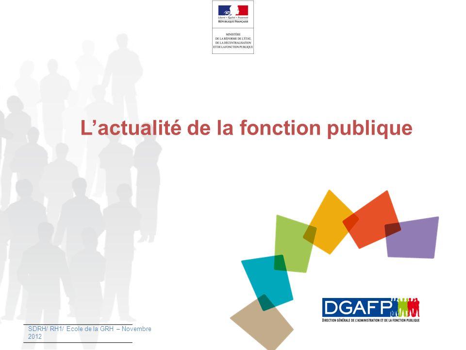 Lactualité de la fonction publique SDRH/ RH1/ Ecole de la GRH – Novembre 2012