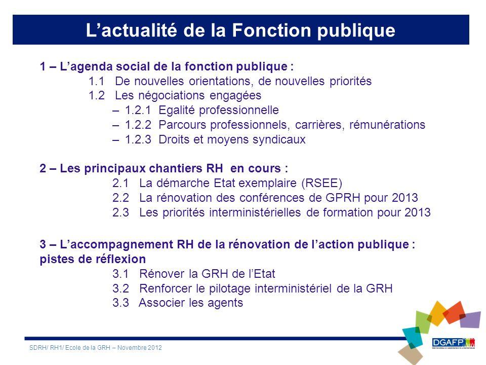 1 – Lagenda social de la fonction publique : 1.1 De nouvelles orientations, de nouvelles priorités 1.2 Les négociations engagées –1.2.1 Egalité professionnelle –1.2.2 Parcours professionnels, carrières, rémunérations –1.2.3 Droits et moyens syndicaux 2 – Les principaux chantiers RH en cours : 2.1 La démarche Etat exemplaire (RSEE) 2.2 La rénovation des conférences de GPRH pour 2013 2.3 Les priorités interministérielles de formation pour 2013 3 – Laccompagnement RH de la rénovation de laction publique : pistes de réflexion 3.1 Rénover la GRH de lEtat 3.2 Renforcer le pilotage interministériel de la GRH 3.3 Associer les agents SDRH/ RH1/ Ecole de la GRH – Novembre 2012 Lactualité de la Fonction publique