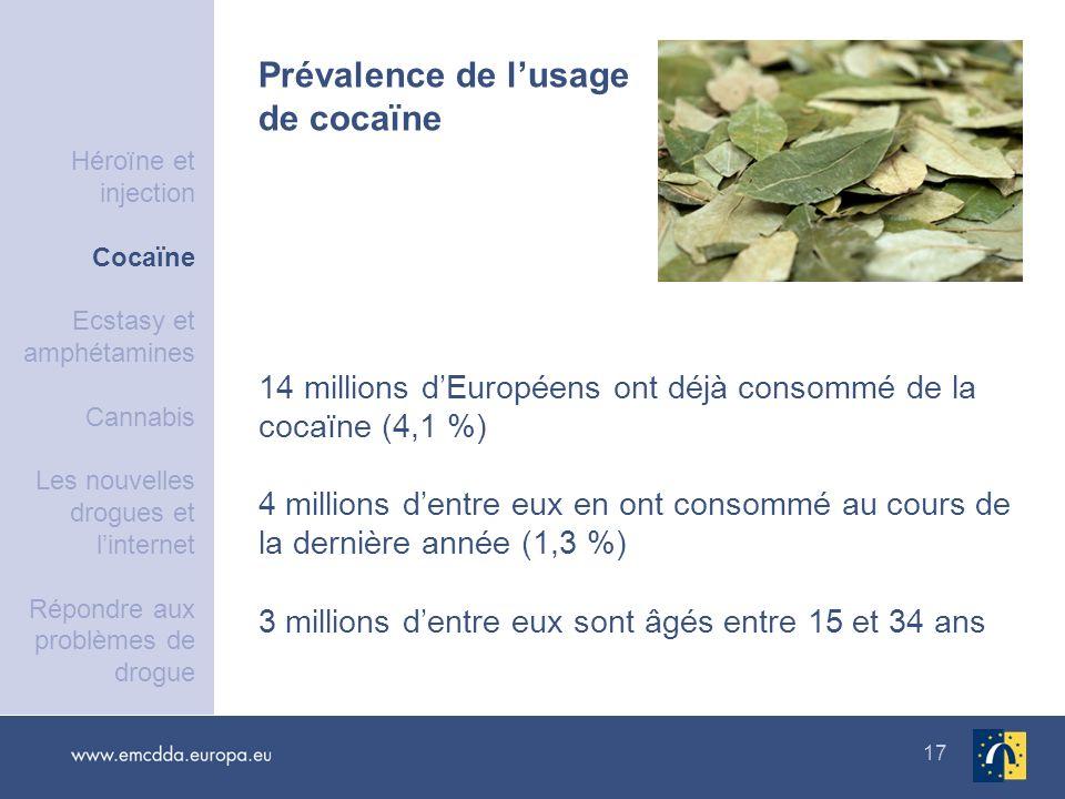 17 14 millions dEuropéens ont déjà consommé de la cocaïne (4,1 %) 4 millions dentre eux en ont consommé au cours de la dernière année (1,3 %) 3 millio