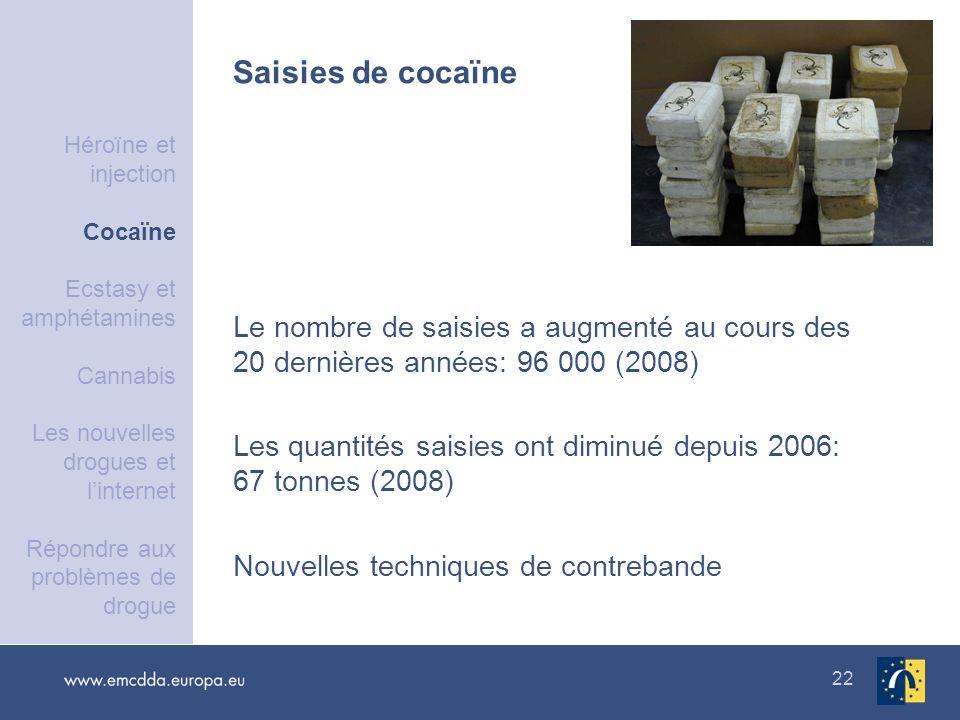 22 Le nombre de saisies a augmenté au cours des 20 dernières années: 96 000 (2008) Les quantités saisies ont diminué depuis 2006: 67 tonnes (2008) Nou