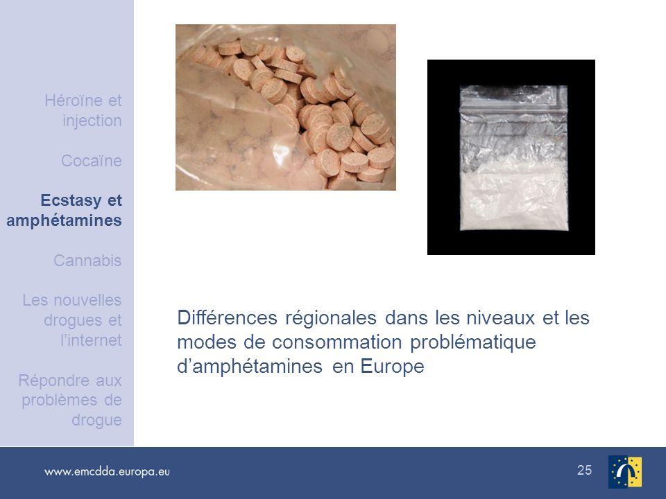 25 Différences régionales dans les niveaux et les modes de consommation problématique damphétamines en Europe Héroïne et injection Cocaïne Ecstasy et