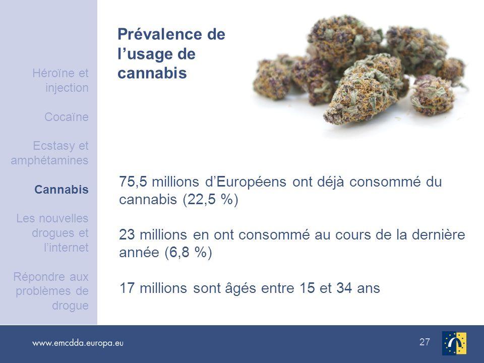 27 75,5 millions dEuropéens ont déjà consommé du cannabis (22,5 %) 23 millions en ont consommé au cours de la dernière année (6,8 %) 17 millions sont
