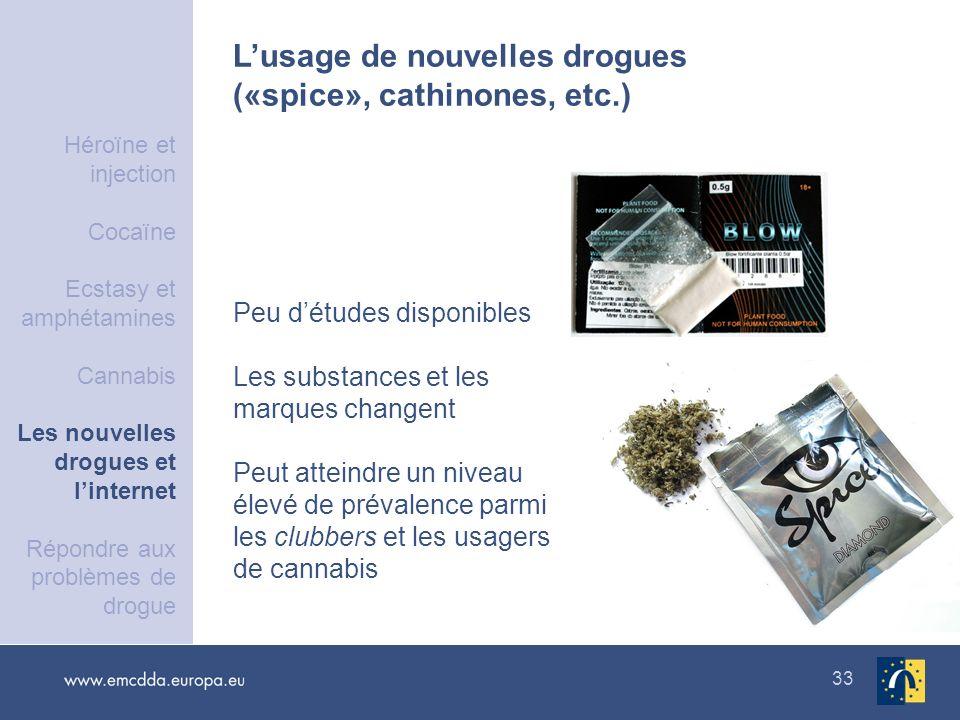 33 Lusage de nouvelles drogues («spice», cathinones, etc.) Peu détudes disponibles Les substances et les marques changent Peut atteindre un niveau éle