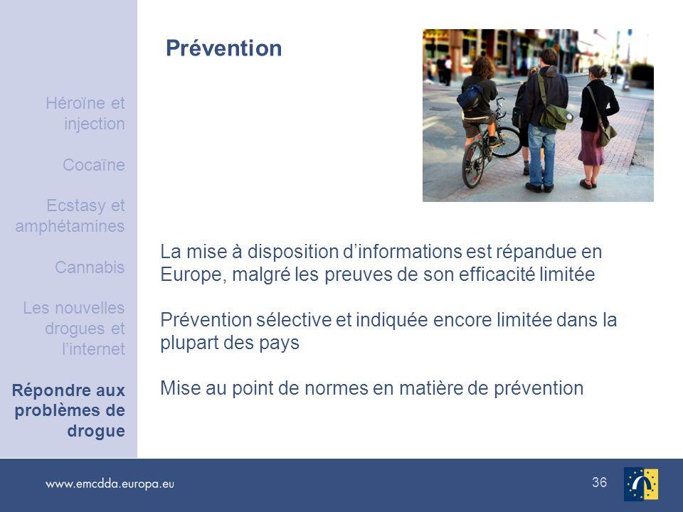36 Prévention La mise à disposition dinformations est répandue en Europe, malgré les preuves de son efficacité limitée Prévention sélective et indiqué
