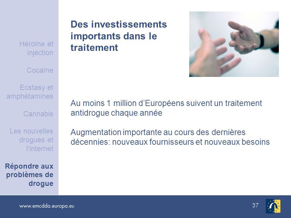 37 Des investissements importants dans le traitement Au moins 1 million dEuropéens suivent un traitement antidrogue chaque année Augmentation importan
