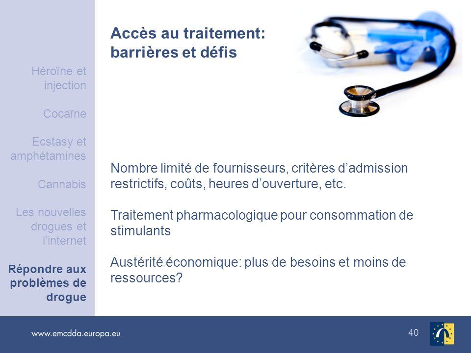 40 Accès au traitement: barrières et défis Nombre limité de fournisseurs, critères dadmission restrictifs, coûts, heures douverture, etc. Traitement p