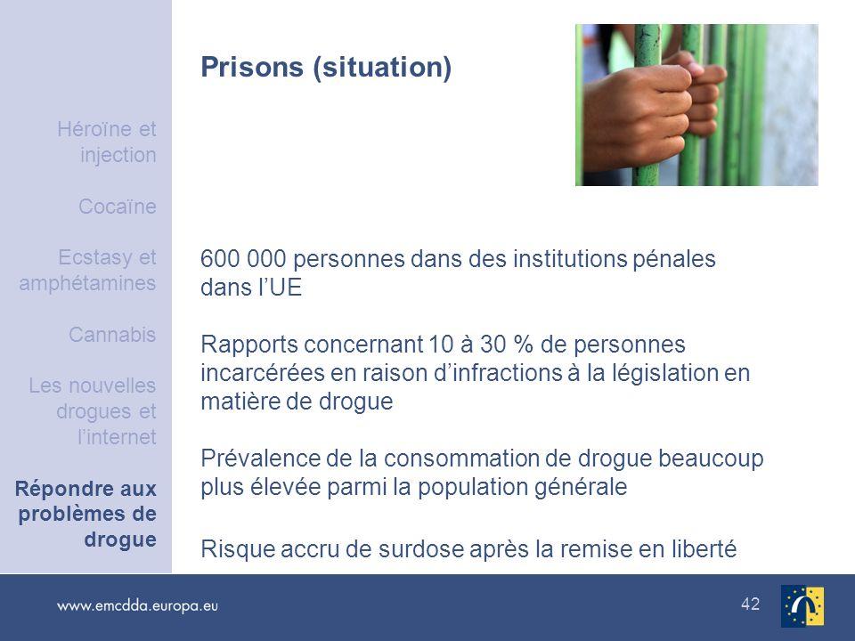 42 Prisons (situation) 600 000 personnes dans des institutions pénales dans lUE Rapports concernant 10 à 30 % de personnes incarcérées en raison dinfr