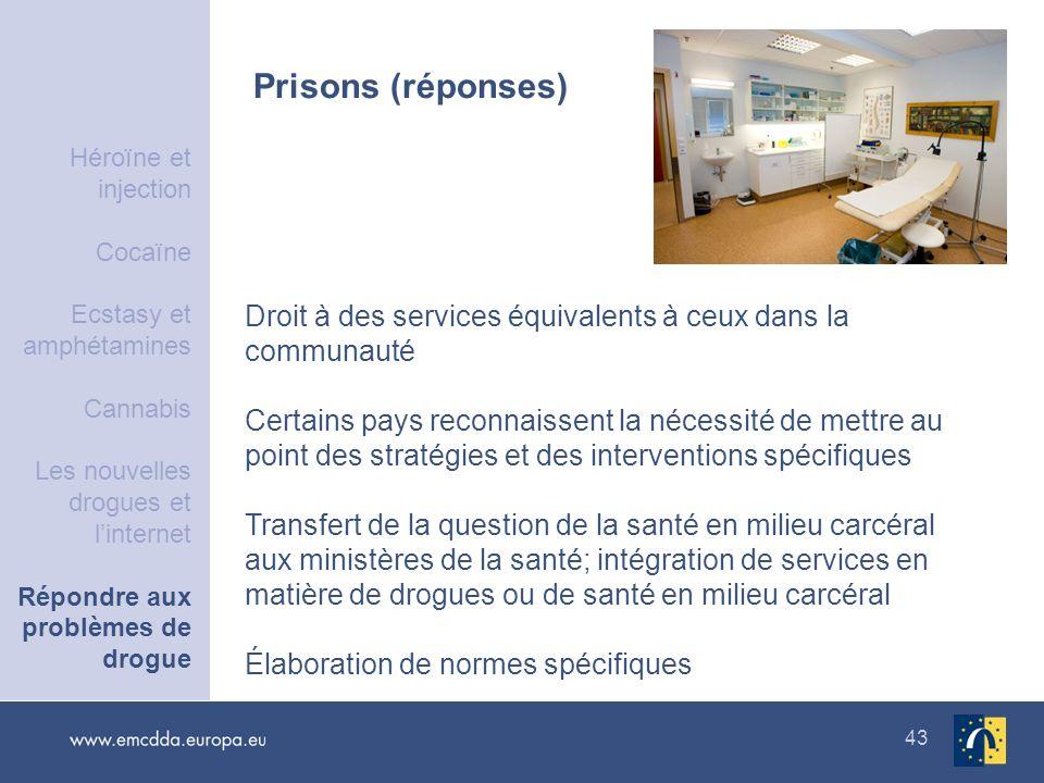 43 Prisons (réponses) Droit à des services équivalents à ceux dans la communauté Certains pays reconnaissent la nécessité de mettre au point des strat