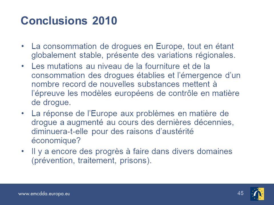 45 Conclusions 2010 La consommation de drogues en Europe, tout en étant globalement stable, présente des variations régionales. Les mutations au nivea