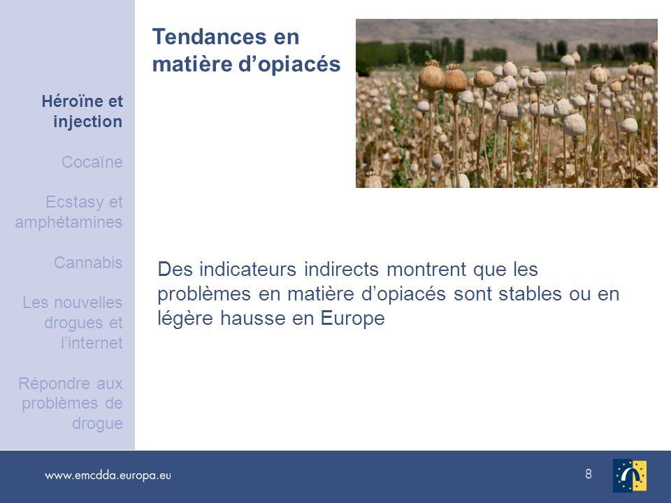 8 Des indicateurs indirects montrent que les problèmes en matière dopiacés sont stables ou en légère hausse en Europe Tendances en matière dopiacés Hé