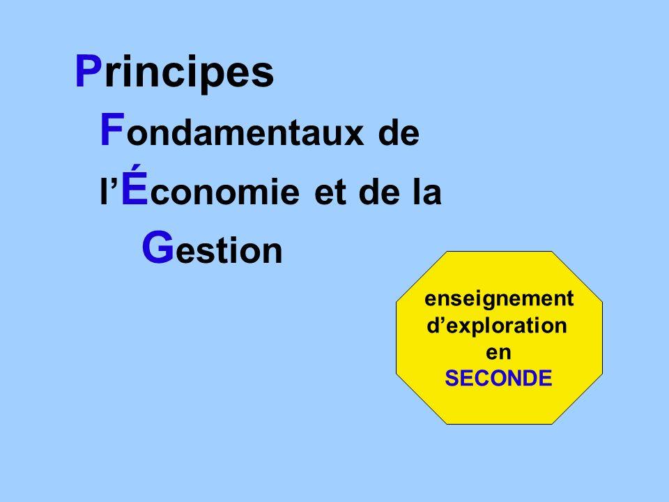 Principes F ondamentaux de l É conomie et de la G estion enseignement dexploration en SECONDE