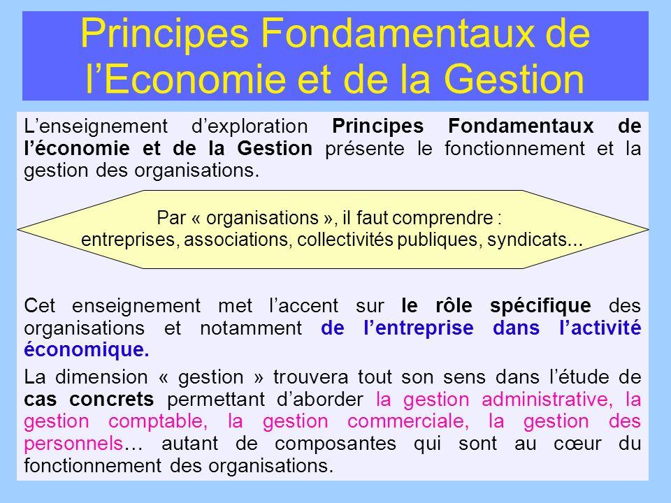 Principes Fondamentaux de lEconomie et de la Gestion Lenseignement dexploration Principes Fondamentaux de léconomie et de la Gestion présente le fonct