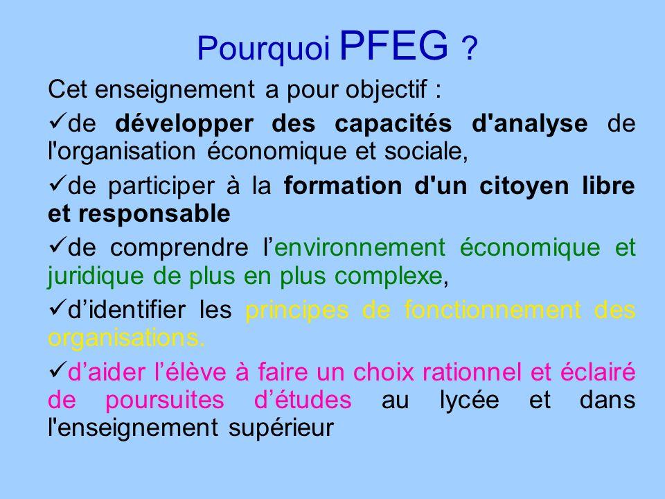 Pourquoi PFEG ? Cet enseignement a pour objectif : de développer des capacités d'analyse de l'organisation économique et sociale, de participer à la f