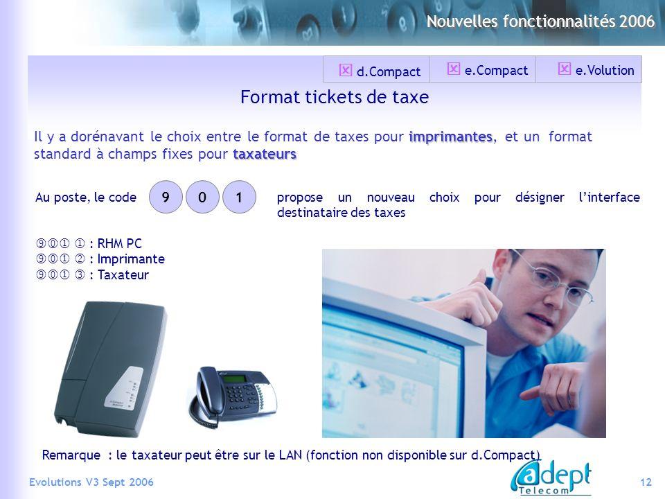 12Evolutions V3 Sept 2006 Format tickets de taxe imprimantes taxateurs Il y a dorénavant le choix entre le format de taxes pour imprimantes, et un for