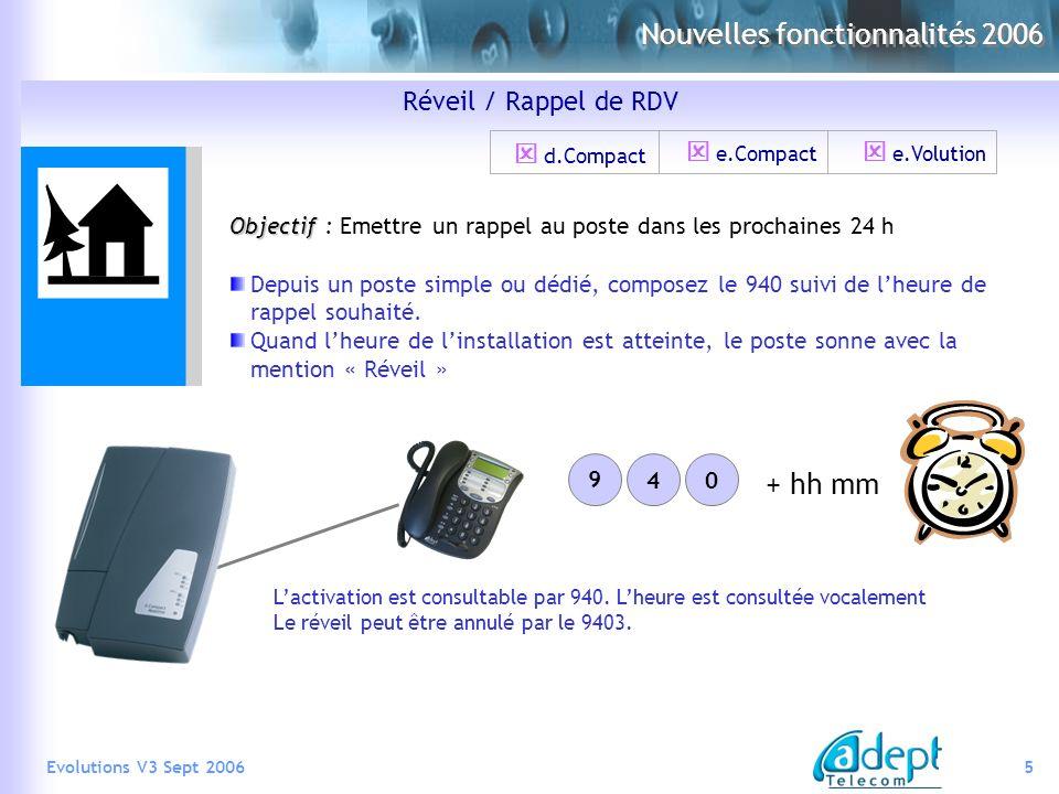 5Evolutions V3 Sept 2006 Nouvelles fonctionnalités 2006 Réveil / Rappel de RDV Objectif Objectif : Emettre un rappel au poste dans les prochaines 24 h