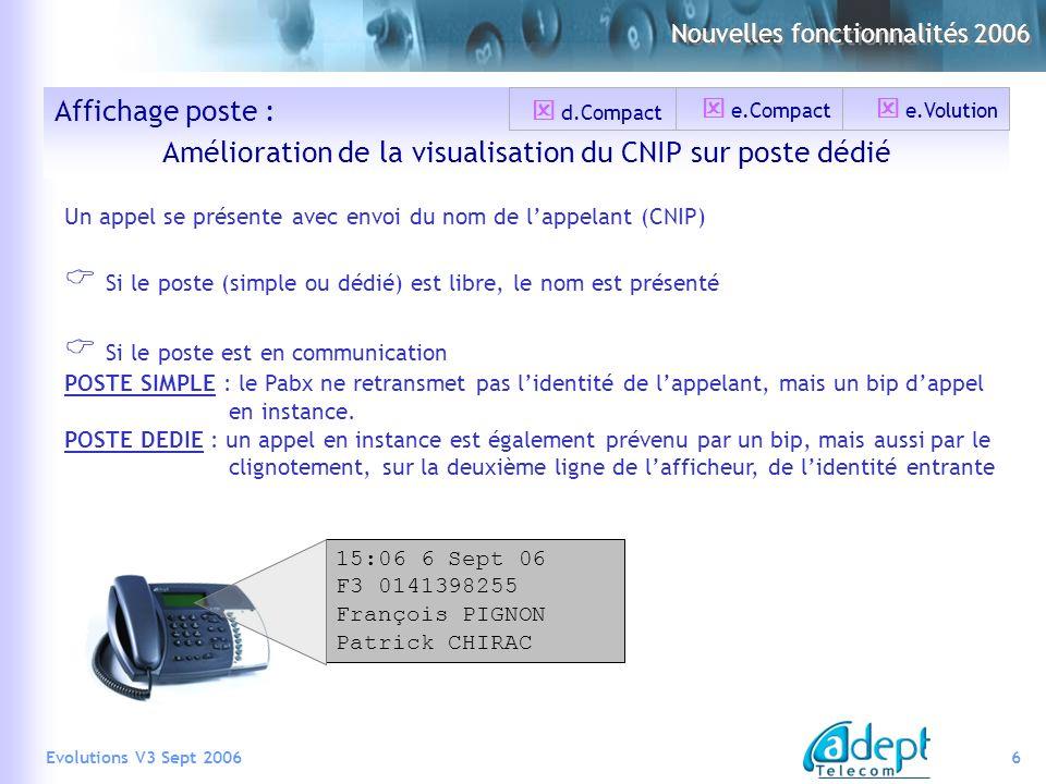6Evolutions V3 Sept 2006 Affichage poste : Amélioration de la visualisation du CNIP sur poste dédié 15:06 6 Sept 06 F3 0141398255 François PIGNON Patr