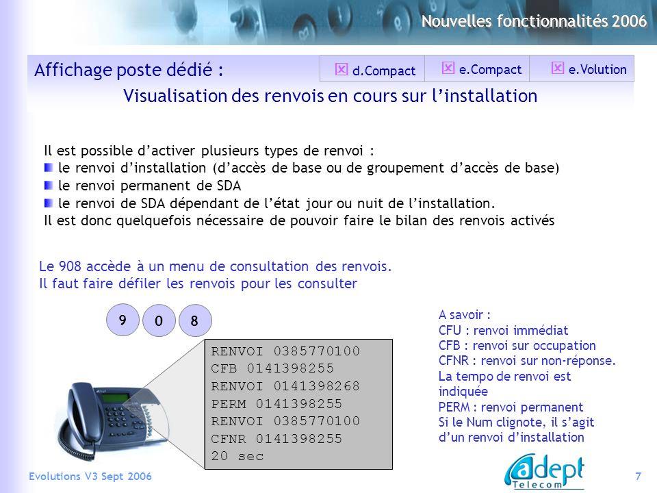7Evolutions V3 Sept 2006 Affichage poste dédié : Visualisation des renvois en cours sur linstallation Il est possible dactiver plusieurs types de renv