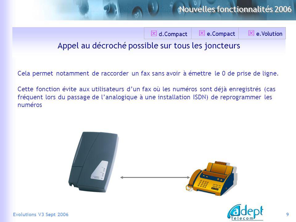 9Evolutions V3 Sept 2006 Nouvelles fonctionnalités 2006 Appel au décroché possible sur tous les joncteurs Cela permet notamment de raccorder un fax sa