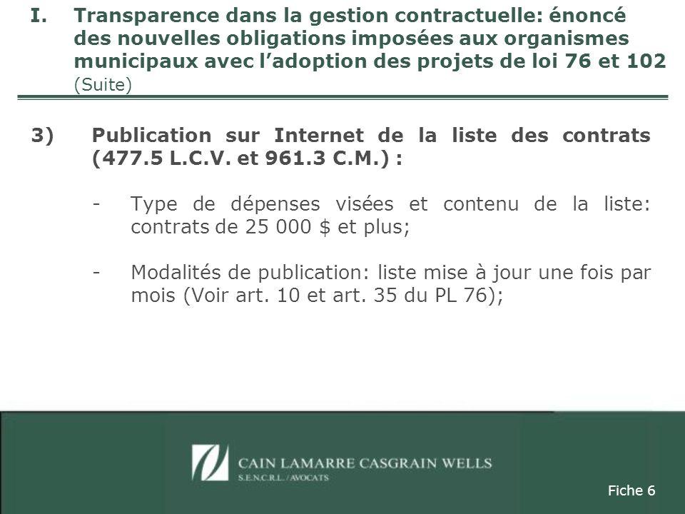 3)Publication sur Internet de la liste des contrats (477.5 L.C.V.