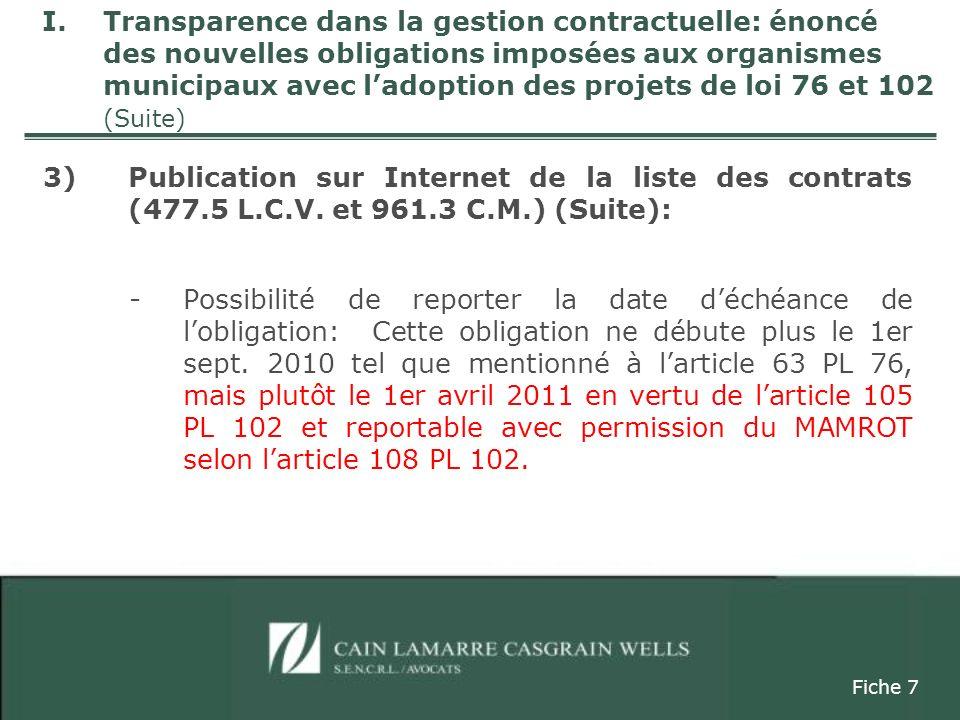 3)Publication sur Internet de la liste des contrats (suite) / Art.