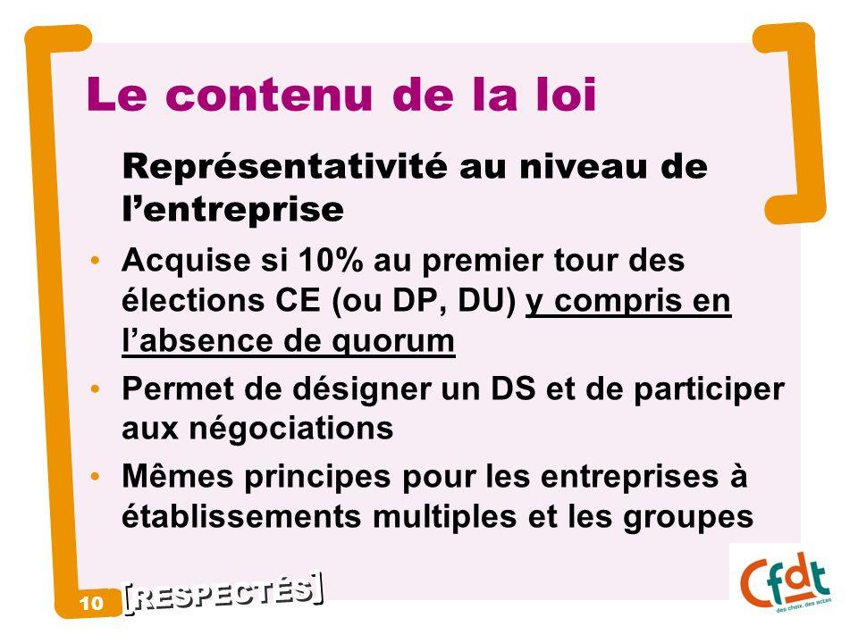 RESPECTÉS 10 Le contenu de la loi Représentativité au niveau de lentreprise Acquise si 10% au premier tour des élections CE (ou DP, DU) y compris en l