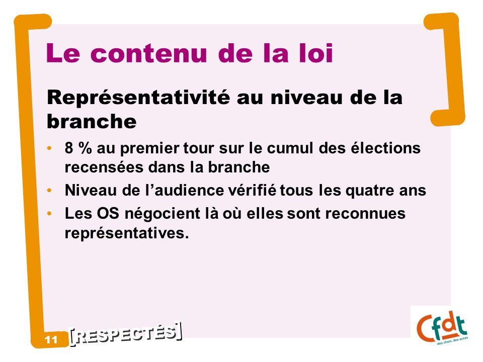 RESPECTÉS 11 Le contenu de la loi Représentativité au niveau de la branche 8 % au premier tour sur le cumul des élections recensées dans la branche Ni