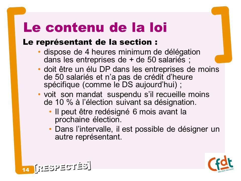 RESPECTÉS 14 Le contenu de la loi Le représentant de la section : dispose de 4 heures minimum de délégation dans les entreprises de + de 50 salariés ;