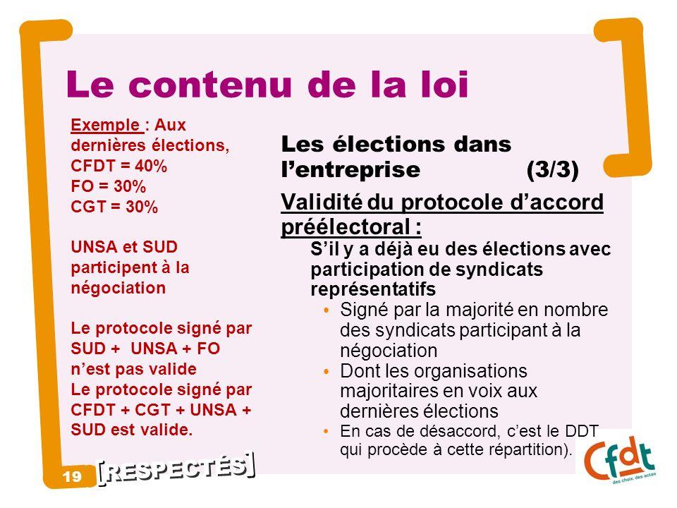 RESPECTÉS 19 Le contenu de la loi Les élections dans lentreprise (3/3) Validité du protocole daccord préélectoral : Sil y a déjà eu des élections avec