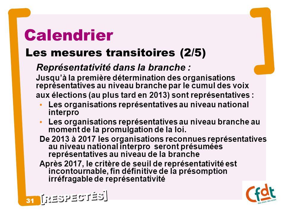 RESPECTÉS 31 Calendrier Les mesures transitoires (2/5) Représentativité dans la branche : Jusquà la première détermination des organisations représent