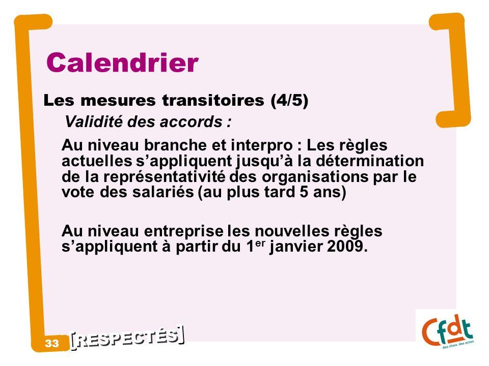 RESPECTÉS 33 Calendrier Les mesures transitoires (4/5) Validité des accords : Au niveau branche et interpro : Les règles actuelles sappliquent jusquà