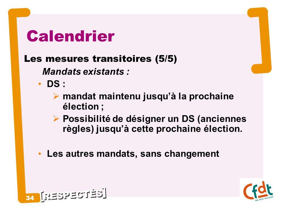 RESPECTÉS 34 Calendrier Les mesures transitoires (5/5) Mandats existants : DS : mandat maintenu jusquà la prochaine élection ; Possibilité de désigner
