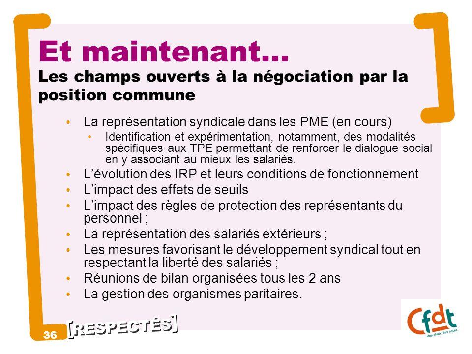 RESPECTÉS Et maintenant… Les champs ouverts à la négociation par la position commune La représentation syndicale dans les PME (en cours) Identificatio