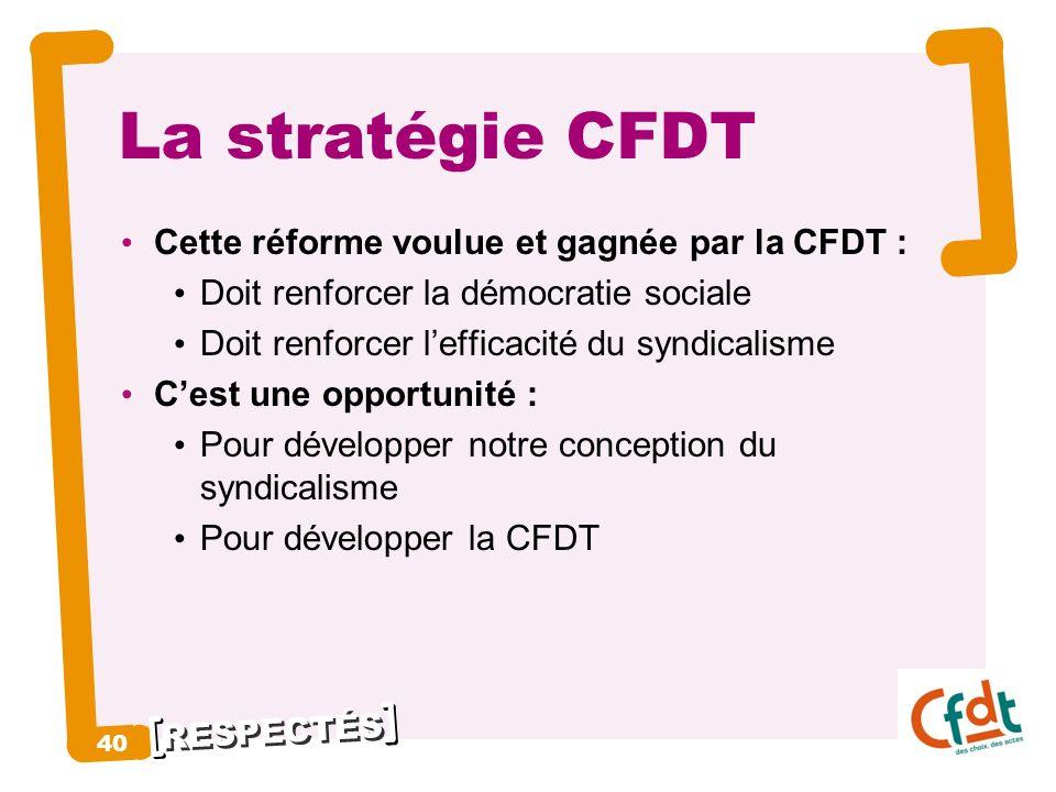 RESPECTÉS 40 La stratégie CFDT Cette réforme voulue et gagnée par la CFDT : Doit renforcer la démocratie sociale Doit renforcer lefficacité du syndica