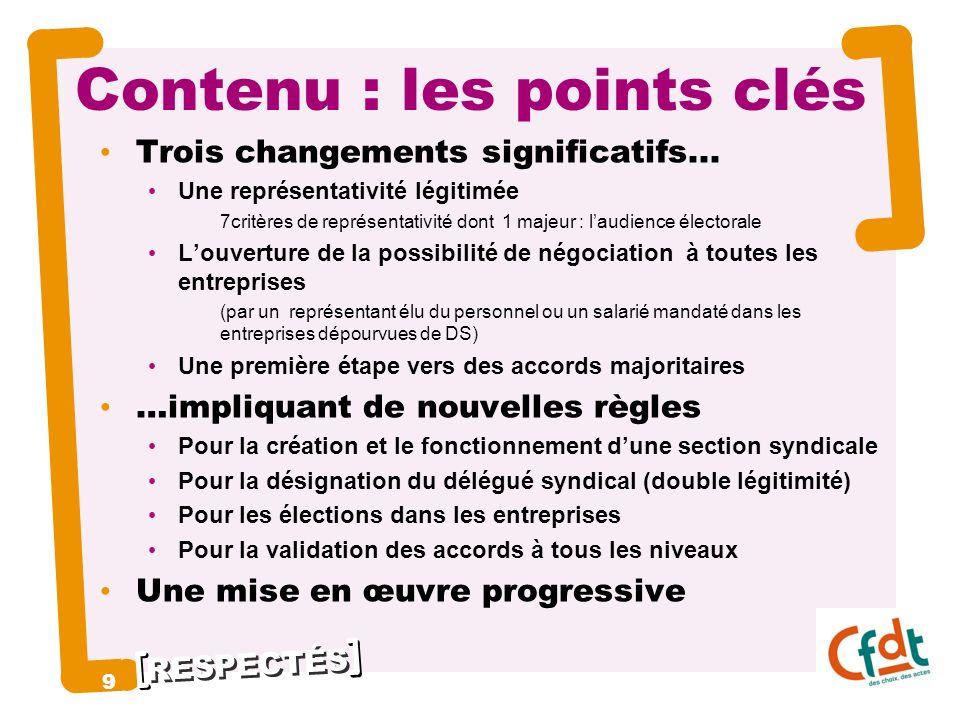 RESPECTÉS Contenu : les points clés Trois changements significatifs... Une représentativité légitimée 7critères de représentativité dont 1 majeur : la