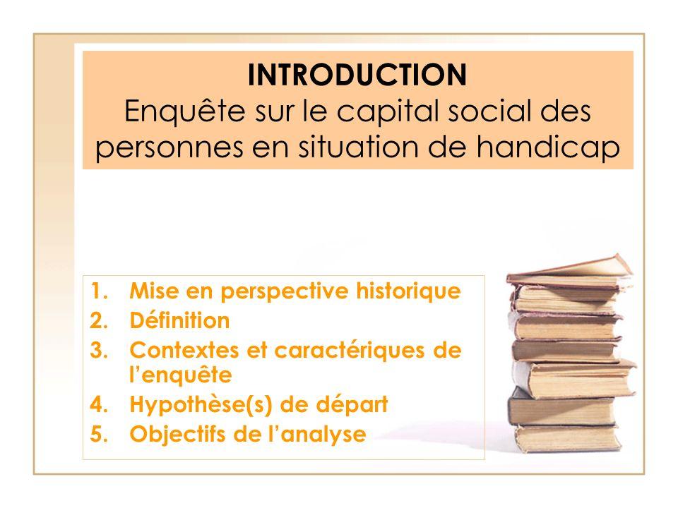 INTRODUCTION Enquête sur le capital social des personnes en situation de handicap 1.Mise en perspective historique 2.Définition 3.Contextes et caracté
