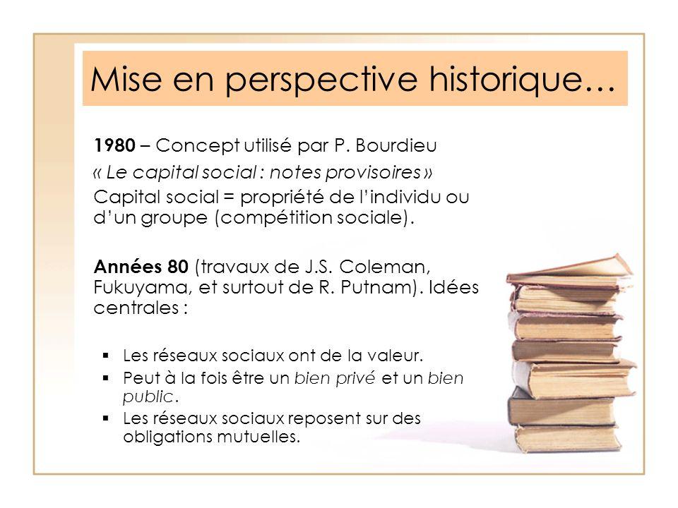 Mise en perspective historique… 1980 – Concept utilisé par P. Bourdieu « Le capital social : notes provisoires » Capital social = propriété de lindivi