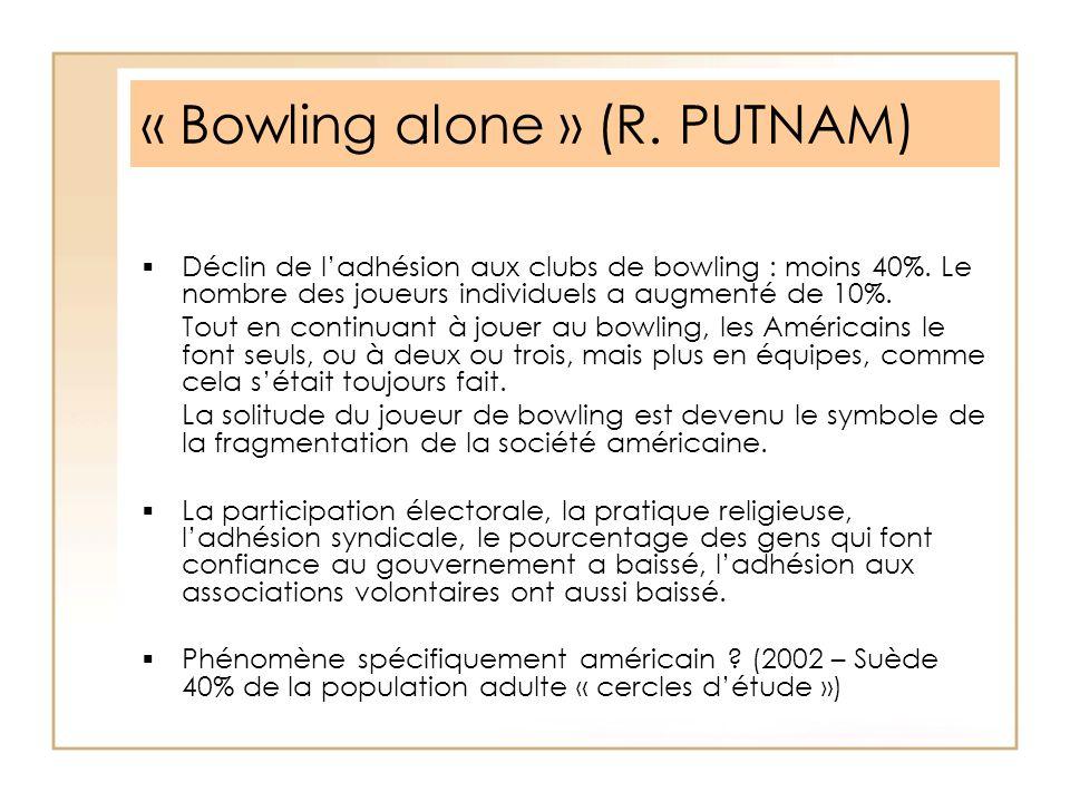 « Bowling alone » (R. PUTNAM) Déclin de ladhésion aux clubs de bowling : moins 40%. Le nombre des joueurs individuels a augmenté de 10%. Tout en conti