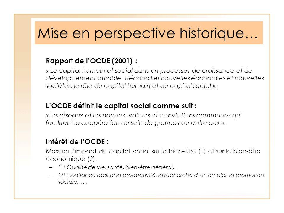 Mise en perspective historique… Rapport de lOCDE (2001) : « Le capital humain et social dans un processus de croissance et de développement durable. R