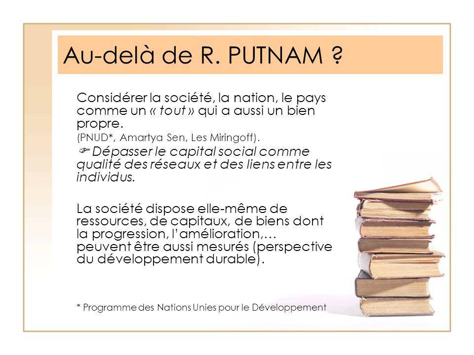 Au-delà de R. PUTNAM ? Considérer la société, la nation, le pays comme un « tout » qui a aussi un bien propre. (PNUD*, Amartya Sen, Les Miringoff). Dé