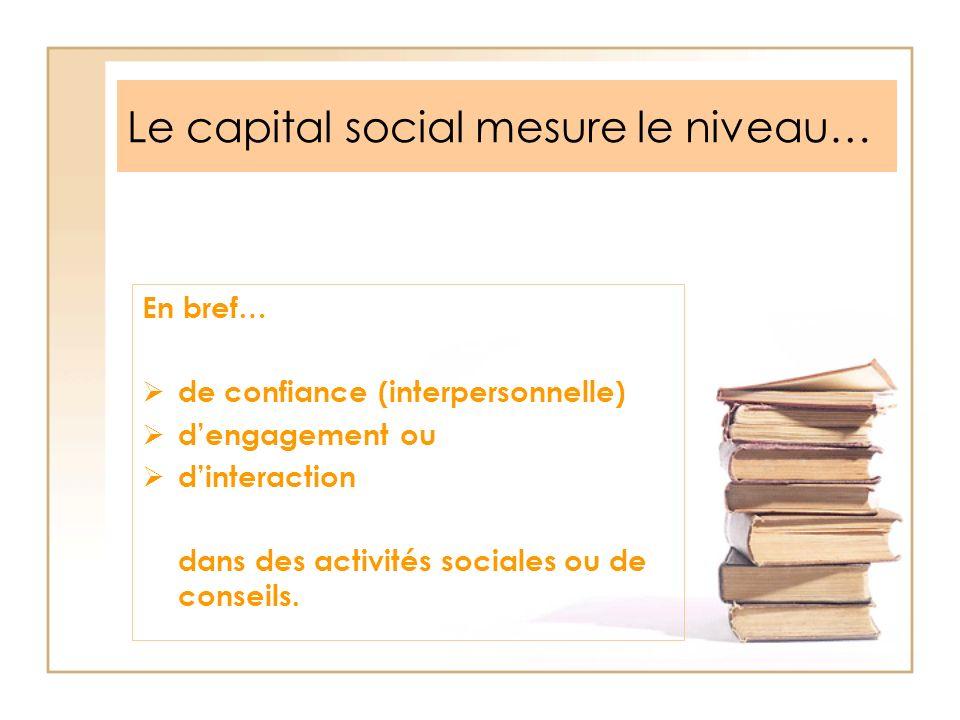 Le capital social mesure le niveau… En bref… de confiance (interpersonnelle) dengagement ou dinteraction dans des activités sociales ou de conseils.