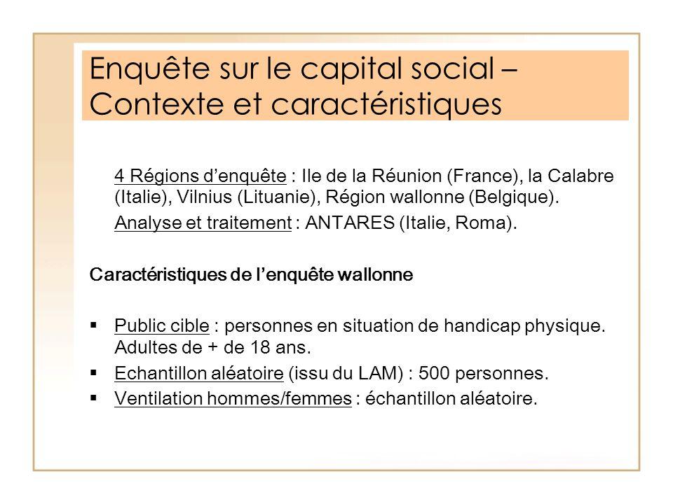 Enquête sur le capital social – Contexte et caractéristiques 4 Régions denquête : Ile de la Réunion (France), la Calabre (Italie), Vilnius (Lituanie),