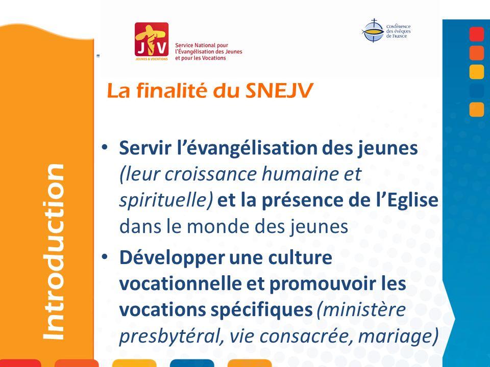 La finalité du SNEJV Introduction Servir lévangélisation des jeunes (leur croissance humaine et spirituelle) et la présence de lEglise dans le monde d