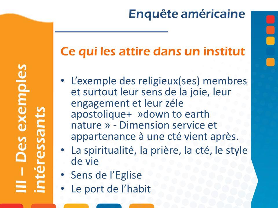 Ce qui les attire dans un institut III – Des exemples intéressants Enquête américaine Lexemple des religieux(ses) membres et surtout leur sens de la j