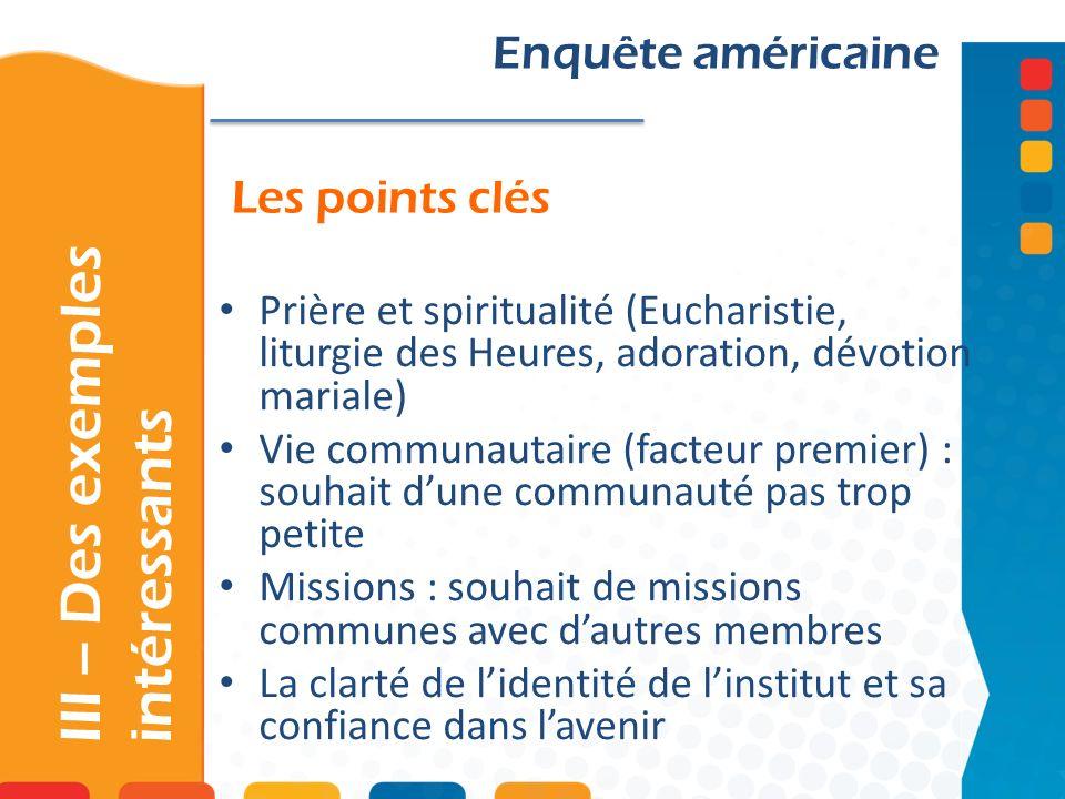 Les points clés III – Des exemples intéressants Enquête américaine Prière et spiritualité (Eucharistie, liturgie des Heures, adoration, dévotion maria