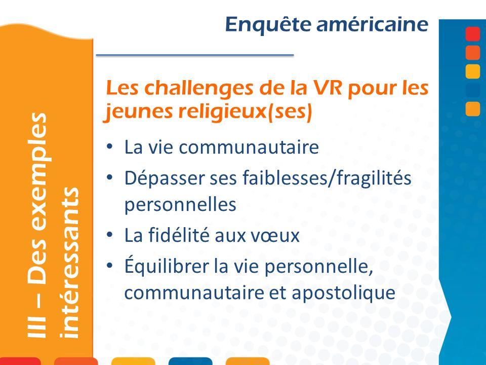 Les challenges de la VR pour les jeunes religieux(ses) III – Des exemples intéressants Enquête américaine La vie communautaire Dépasser ses faiblesses