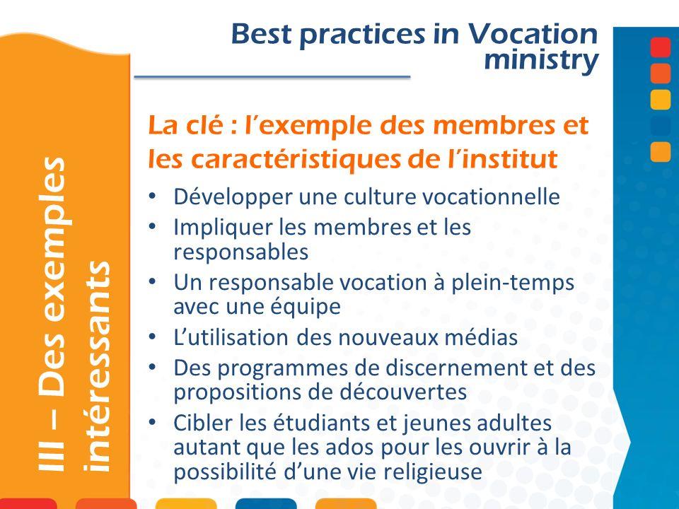 La clé : lexemple des membres et les caractéristiques de linstitut III – Des exemples intéressants Best practices in Vocation ministry Développer une
